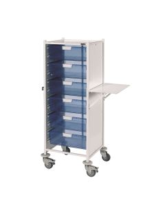 Vista 120 Trolley with 6 Double Blue Trays and Folding Shelf