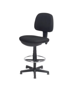 Low Back Draughtsman Chair Black Vinyl Upholstery - No Arms