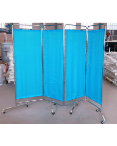 4 Panel Screen with Curtains and 8 Wheels